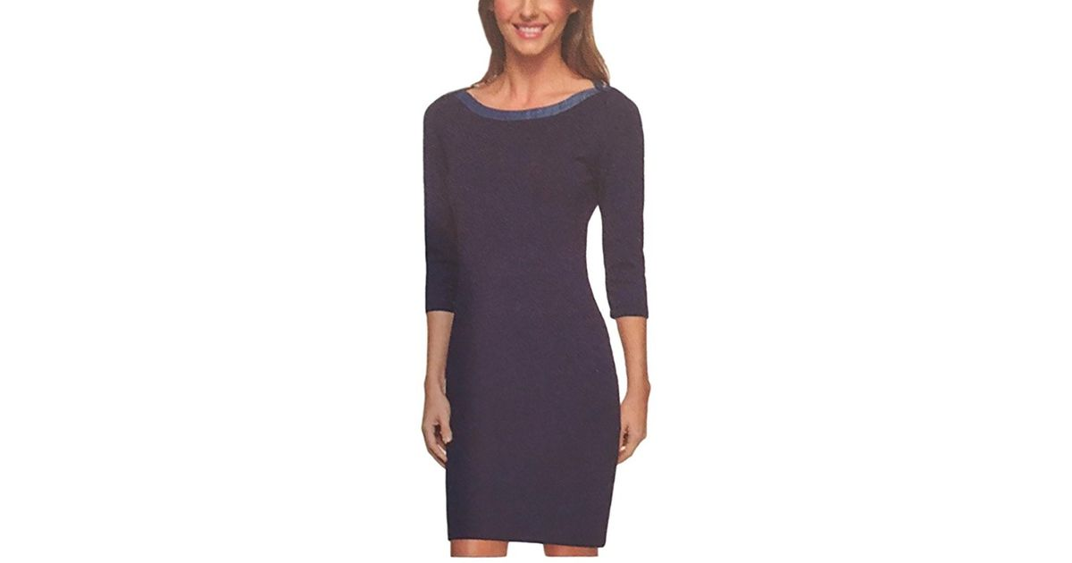 fd37e15c7e2 Lyst - Tommy Hilfiger Ladies Nautical Scoop Neck 3/4 Sleeve Jersey Dress in  Blue