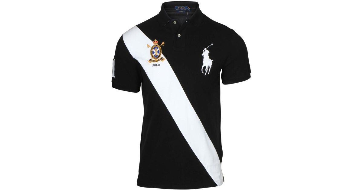 ff419a4cd Polo Ralph Lauren Custom Fit Big Pony Banner Polo Shirt in Black for Men -  Lyst