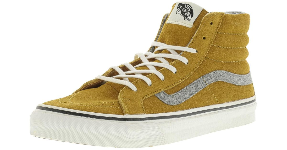 fa4aa23ded Lyst - Vans Sk8-hi Slim Vintage Suede Amber Gold High-top Skateboarding Shoe  in Metallic for Men