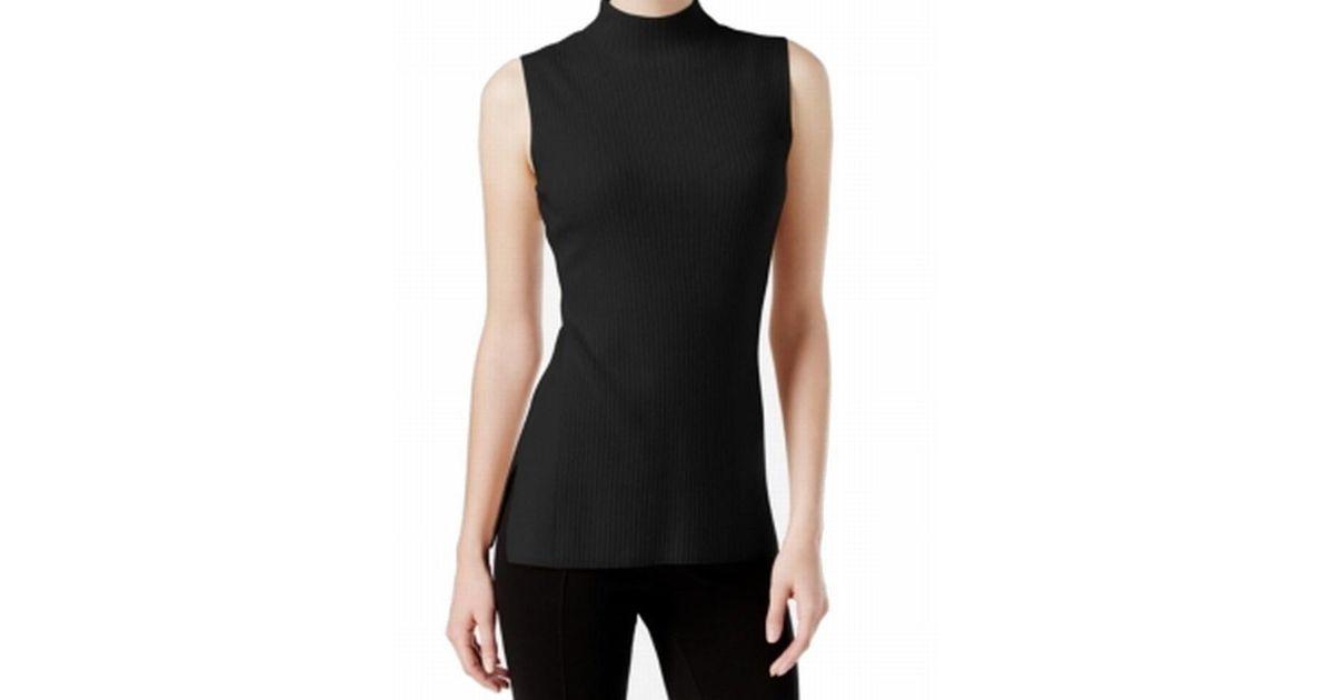 8dbd3828ffa2e Lyst - Calvin Klein Ribbed Knit Sleeveless Mock Turtleneck Sweater in Black