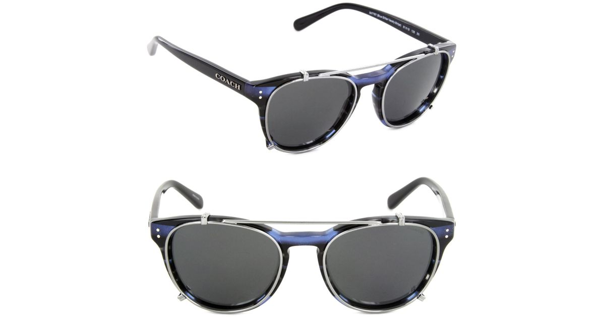 3ee8c00b609 Lyst - COACH Hc8216-547787-51 Phantos Sunglasses Blue Glitter Varsity  Stripe dark Grey Solid Lens in Blue