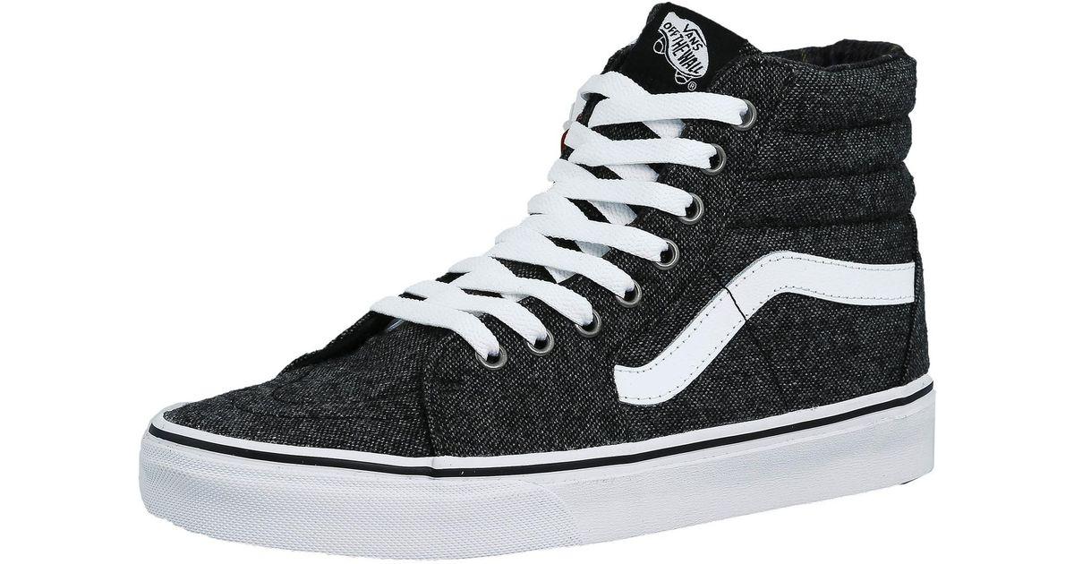 620182baf7def6 Lyst - Vans Sk8-hi Tweed Black   True White High-top Canvas Skateboarding  Shoe in Black for Men