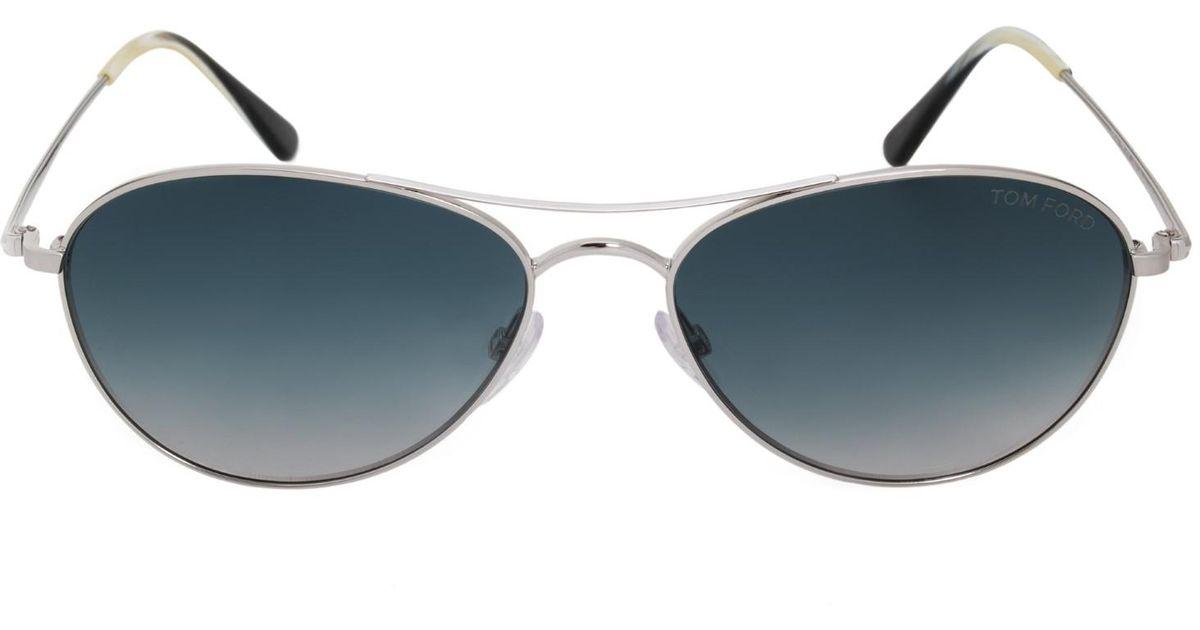 df0333018af Lyst - Tom Ford Oliver Tf495 18w 56mm Shiny Rhodium blue Gradient Aviator  Sunglasses