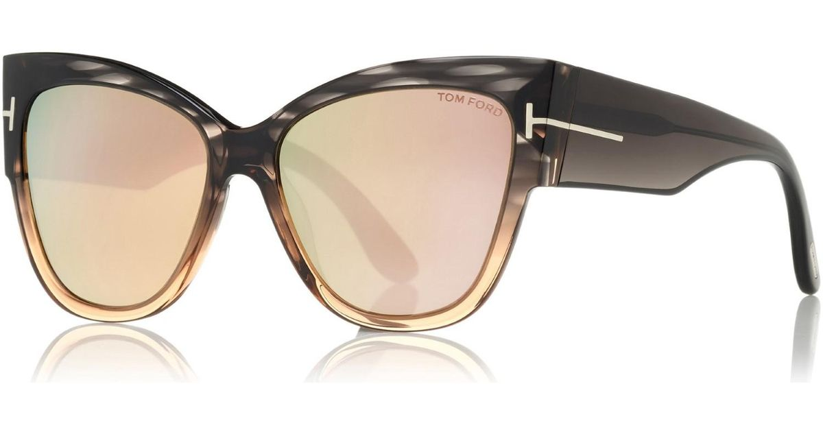 f58e8081d5697 Lyst - Tom Ford Anoushka Tf 371 20g Grey To Peach Cat-eye Sunglasses in Gray