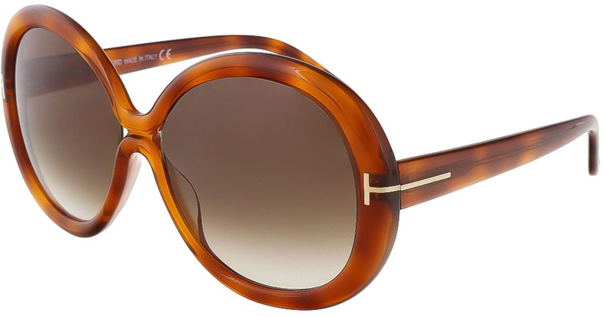 5bbca32824 Lyst - Tom Ford Ft0388 Gisella Round Sunglasses in Brown