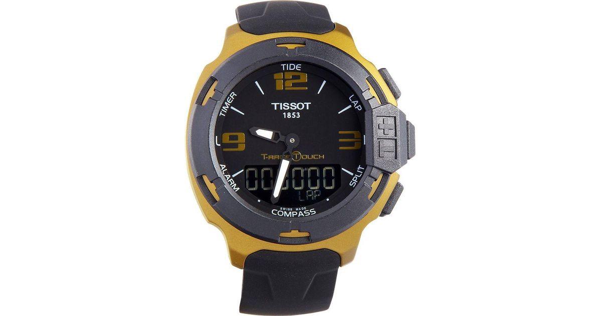ba277d4326c Lyst - Tissot T-race Touch Aluminium Black Dial Black Silicon Strap Sports  Quartz Watch T0814209705706 in Black for Men