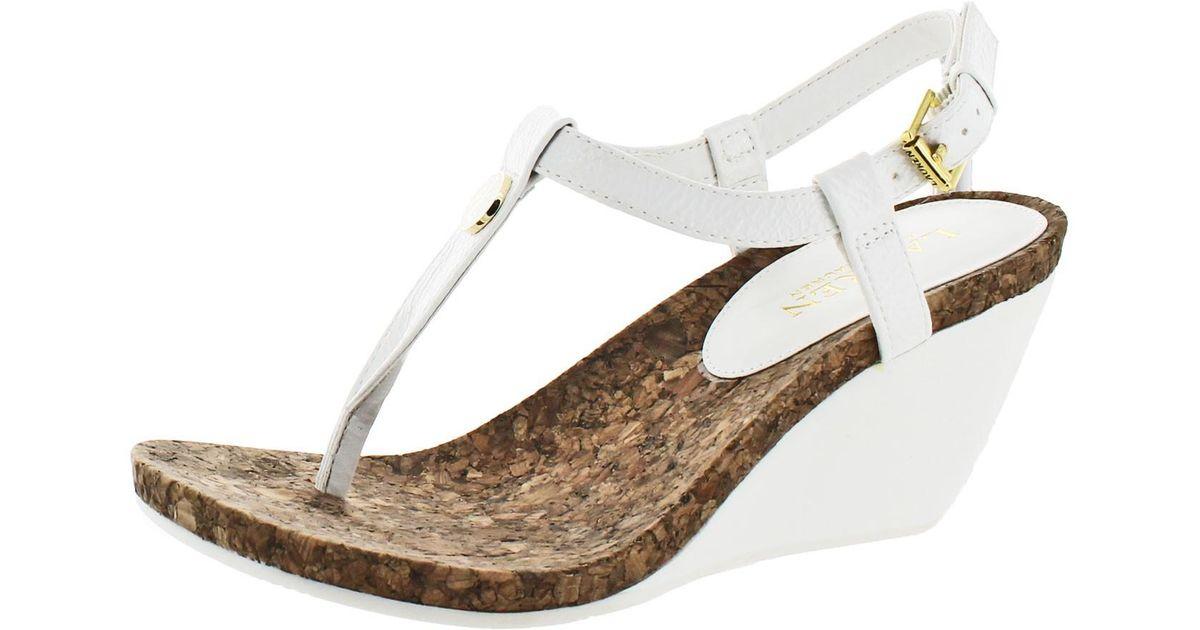 White Lauren Lyst Reeta By Cork Sandals T Ralph Wedge Strap qUpSzMVG