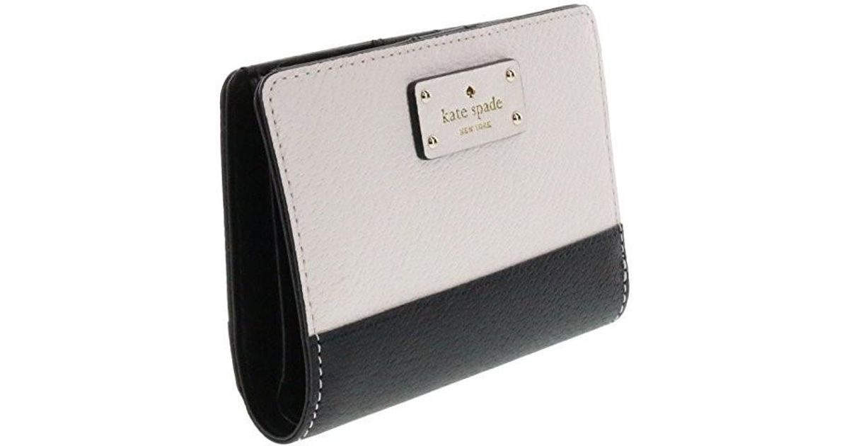 f48f494c287d6 Lyst - Kate Spade Tellie Grove Street Embossed Leather Wallet  (black cement) in Black