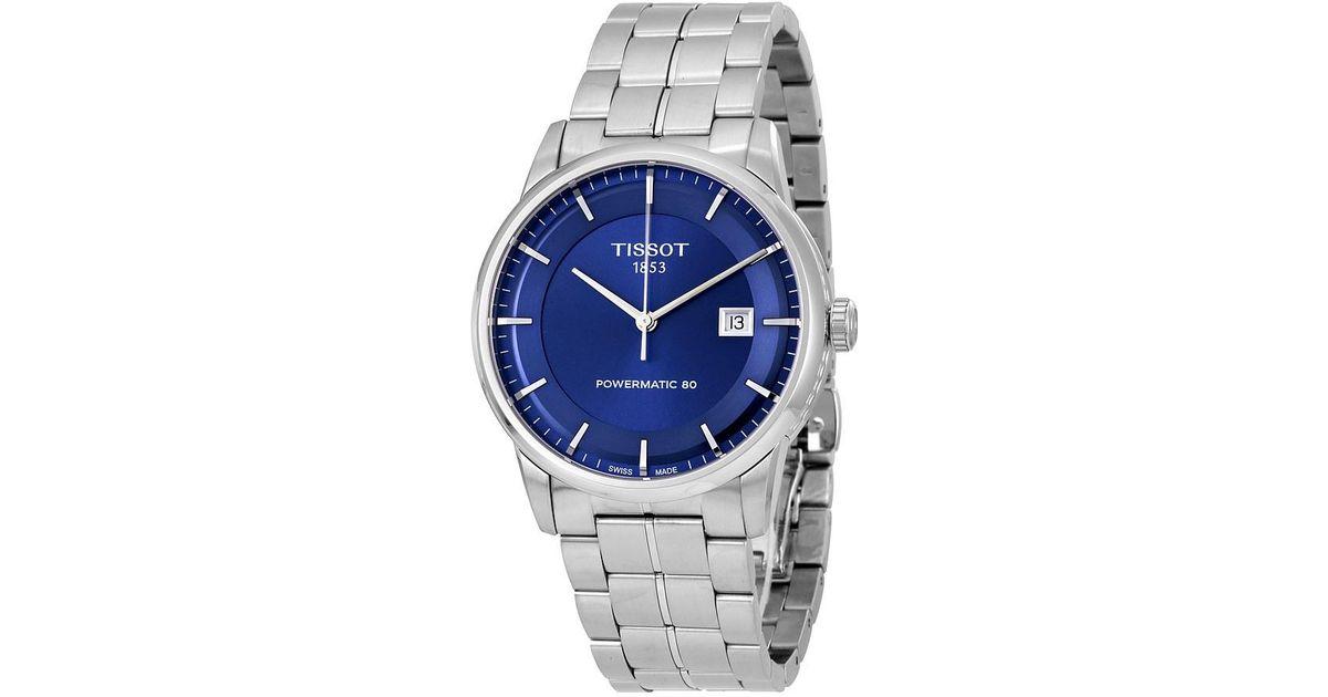 4b648b976f20 Lyst - Tissot Luxury Automatic Blue Dial Watch T086.407.11.041.00 in ...