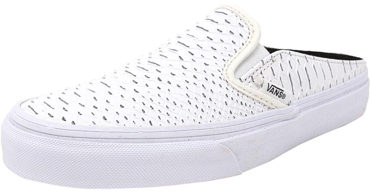 734221f4ed4114 Lyst - Vans Classic Slip-on Mule Embossed Python White   True Ankle-high  Snakeskin Fashion Sneaker in White