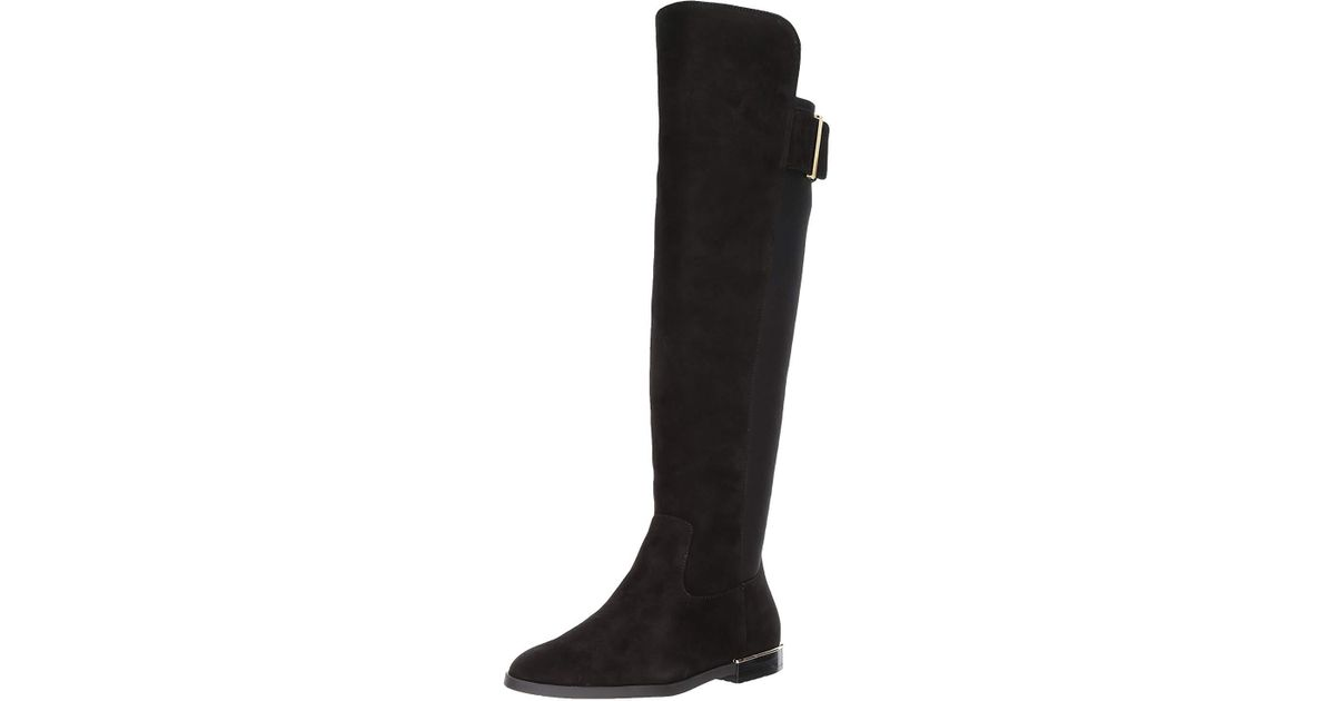 b82464e364b Lyst - Calvin Klein Priya Suede Almond Toe Knee High Fashion Boots in Black  - Save 33%