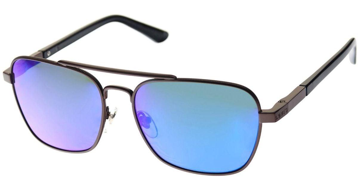 45c78410b1 Lyst - Levi s Pilot Aviator Tinted Sunglasses One in Blue