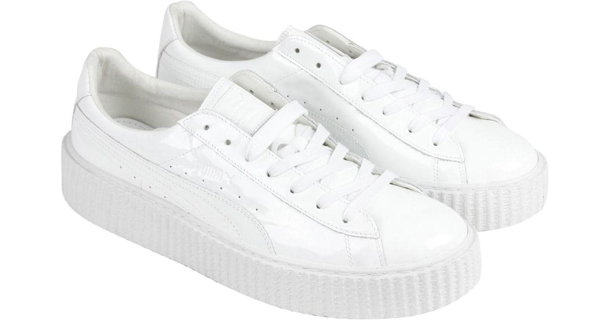 8eed1f9e85b4 ... X Rihanna Fenty Basket Creeper Glo Sneaker  low price d883a ecab5 Lyst  - Puma Basket Creepers Glossy U White White Mens Lace Up ...