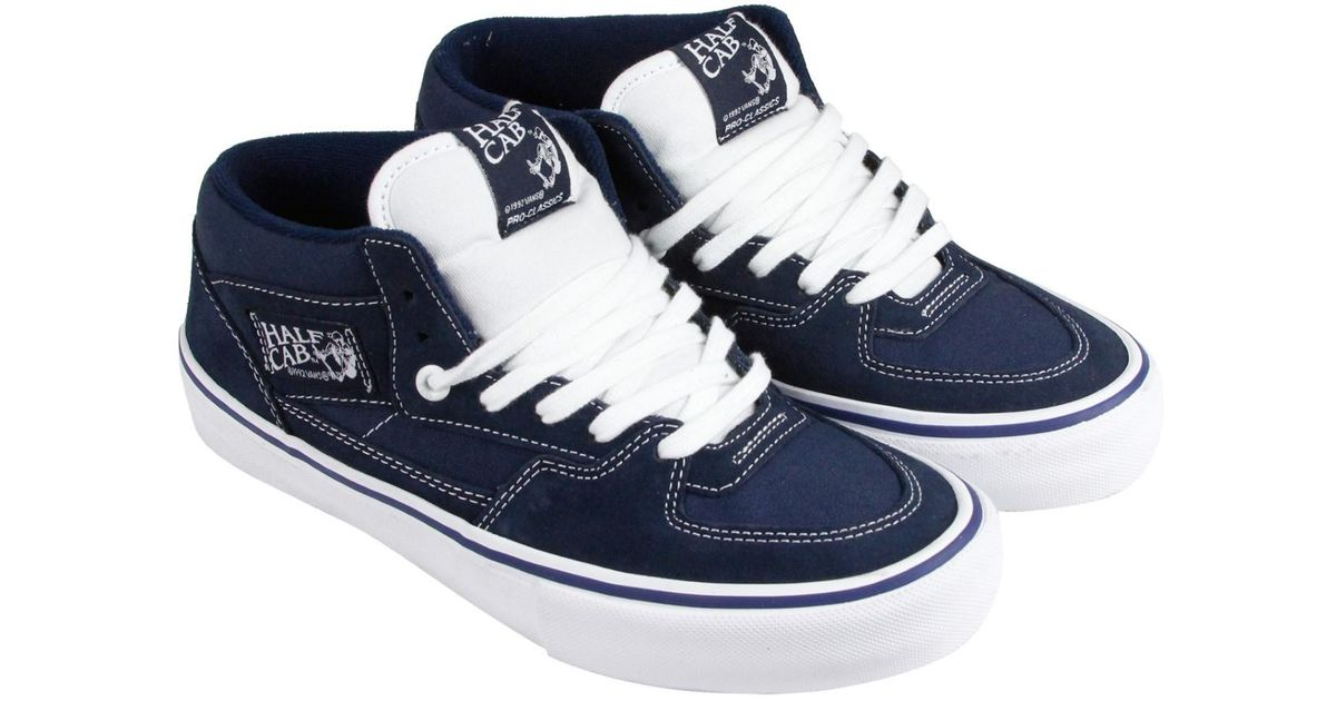 dd7d07be7b Lyst - Vans Half Cab Pro Dress Washed Canvas Black Lace Up Sneakers in Blue  for Men