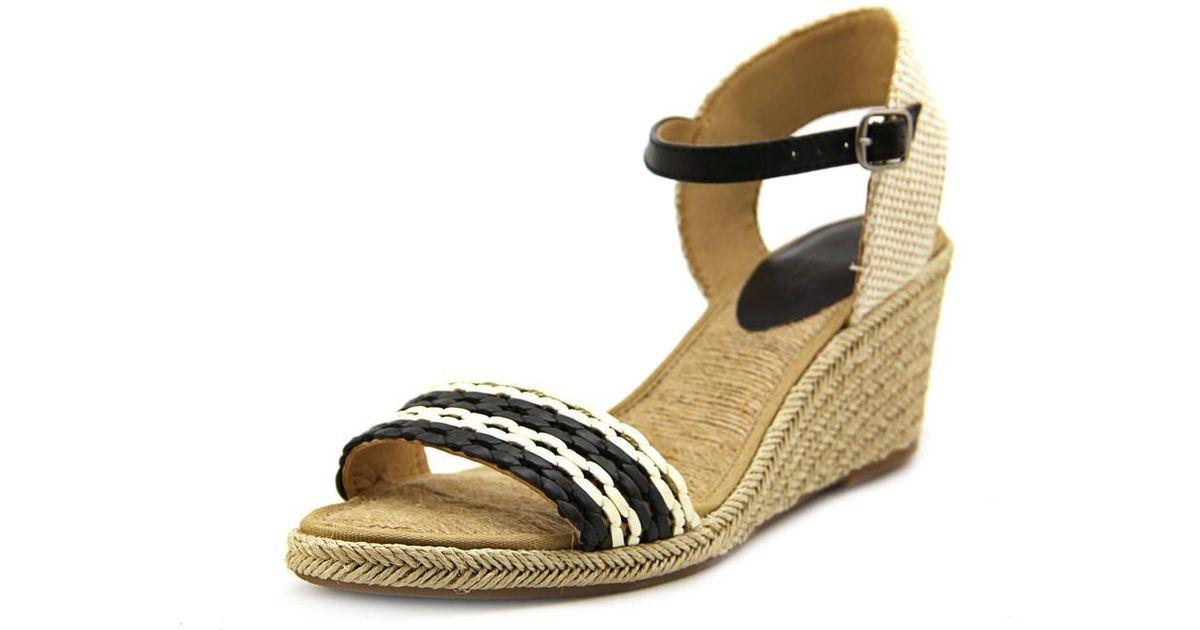 ac2f7ebadd8 Lucky Brand - Black Kavelli 2 Open Toe Synthetic Wedge Heel - Lyst