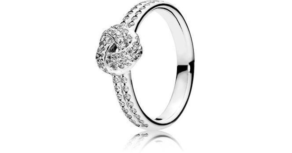 6ed0984968807 Pandora - Metallic Sparkling Love Knot Clear Cz Ring Size 6 - Lyst