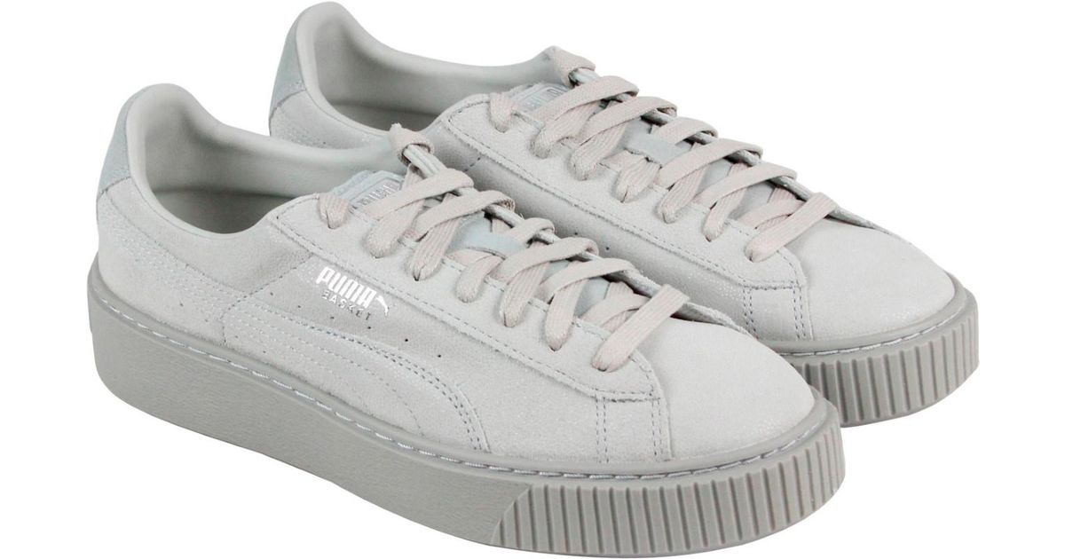 285fce7c916cfd Lyst - PUMA Basket Platform Reset Gray Violet Gray Violet Womens Lace Up  Sneakers in Gray