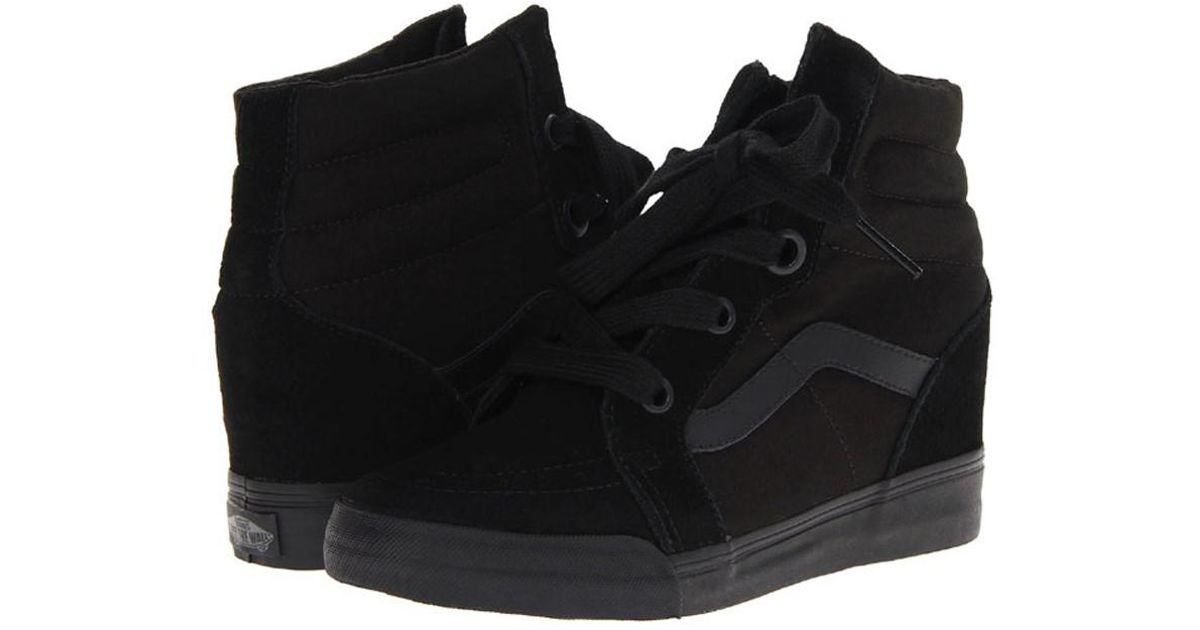 52304250c8 Lyst - Vans Sk8-hi Wedge Sneakers 7.5 in Black