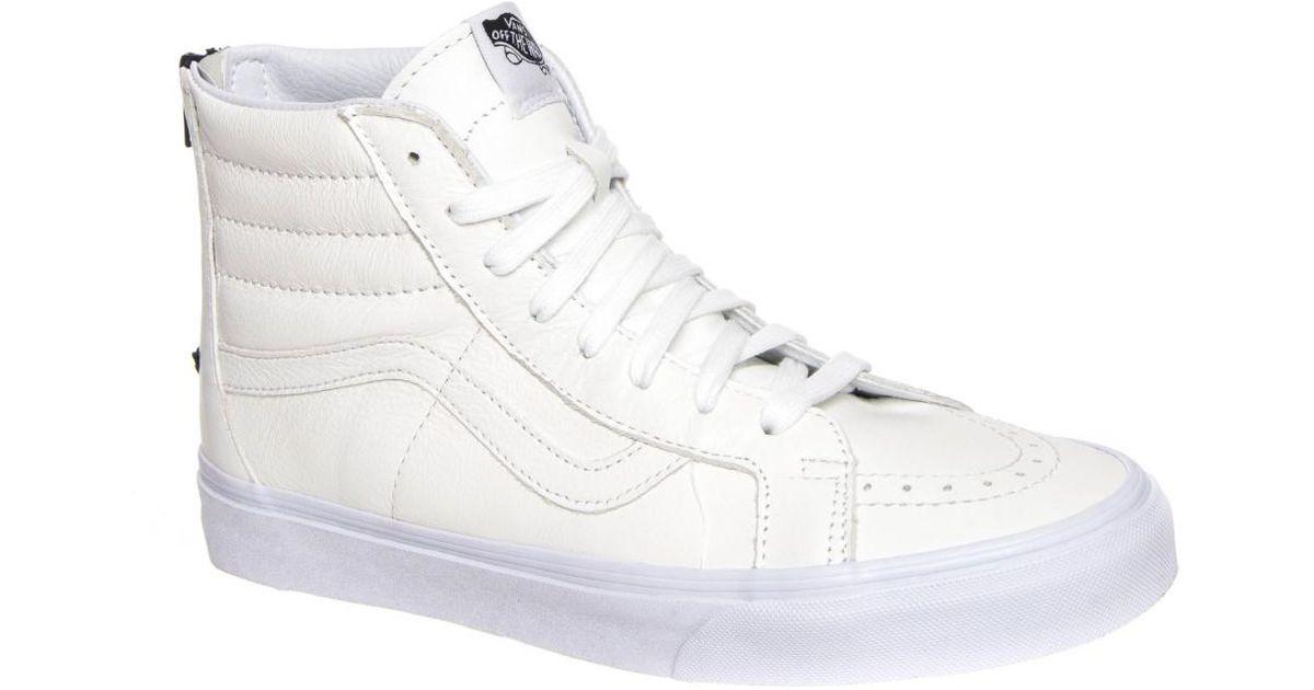 ec61e95716 Lyst - Vans Sk8-hi Reissue Zip Premium Leather True White   Black High-top  Skateboarding Shoe in White