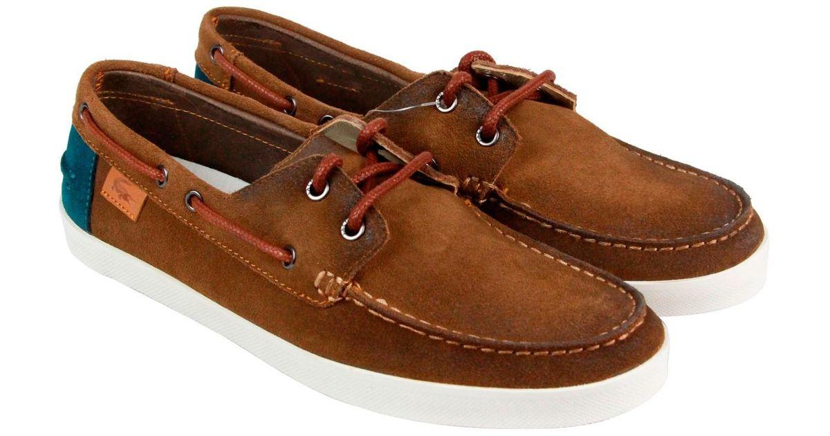 7da09a092acc0e Lyst - Lacoste Keellson 2 Srm Dark Tan Mens Casual Dress Boat Shoes in  Brown for Men