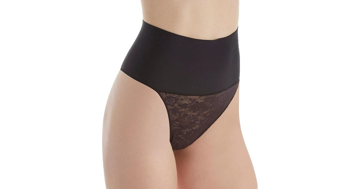 4c990b347c Lyst - Maidenform Dm0049 Tame Your Tummy Lace Thong in Black