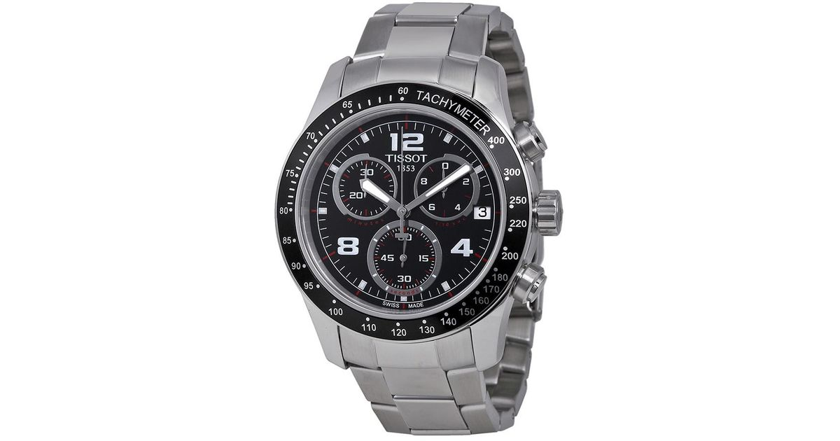 7e9c1f66b59 Lyst - Tissot V8 Chronograph Black Dial Watch T0394171105702 for Men