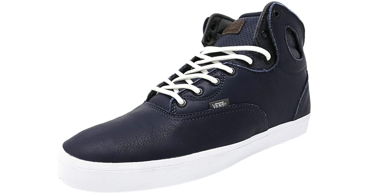 9369d39dc22901 Lyst - Vans Bushwick Bio-wash Navy   White High-top Leather Fashion Sneaker  in Blue for Men