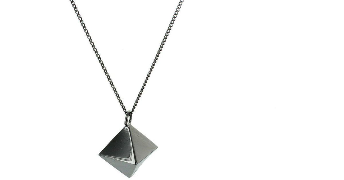 Origami Jewellery Black Silver Mini Octagem Origami Necklace O1VR3
