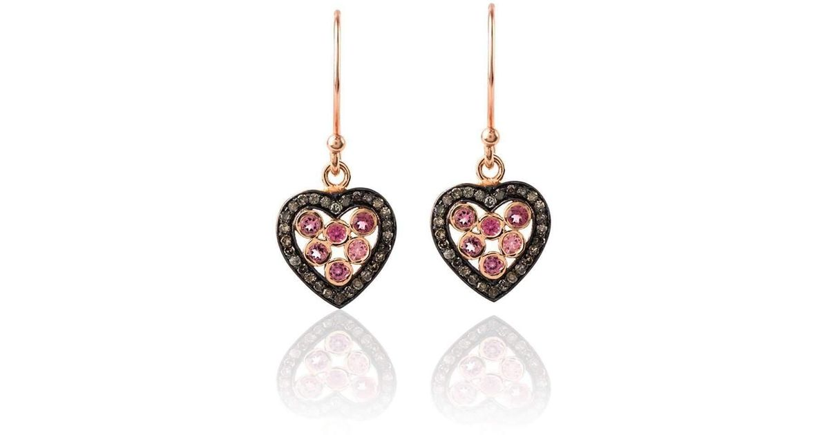 Latelita London Diamond Heart Pink Tourmaline Necklace omoAag