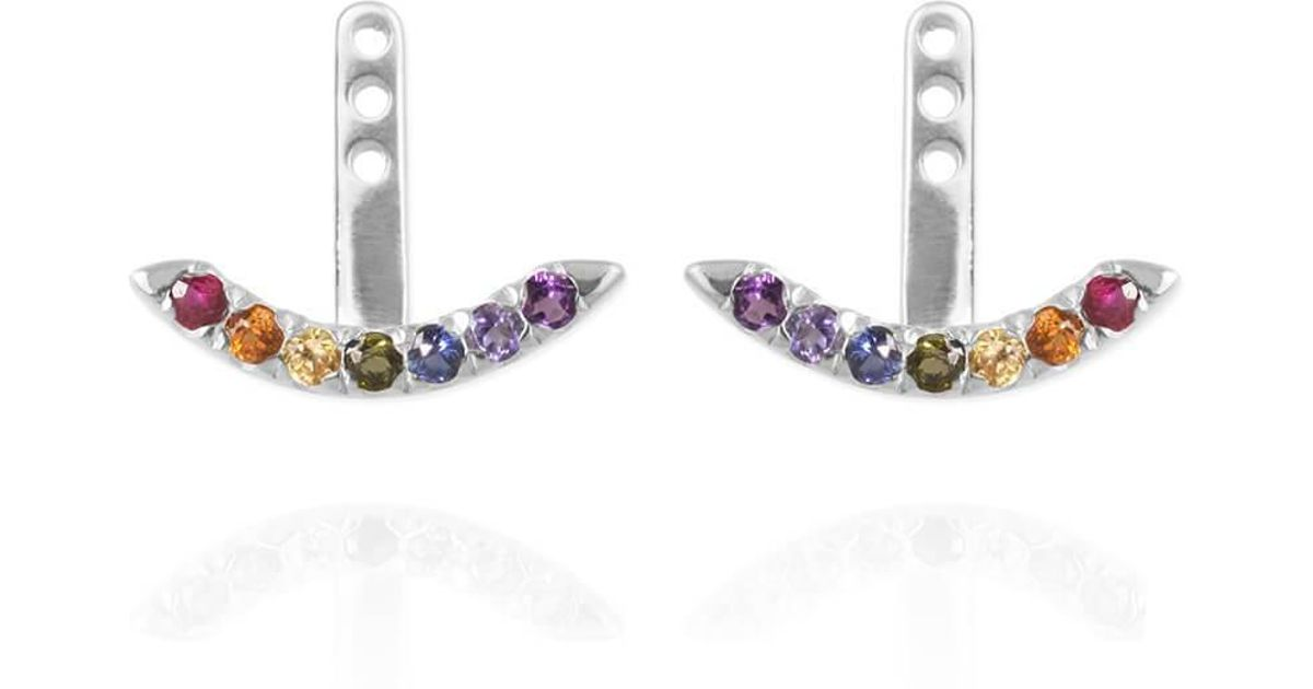 Jana Reinhardt Sterling Silver Unicorn Earrings With Rainbow Ear Jackets v4zmq