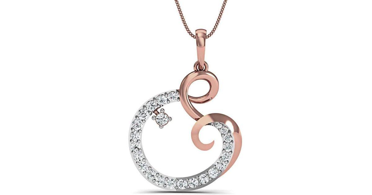 Diamoire Jewels 10kt Rose Gold Pave Diamond Pendant O7N1Vl75