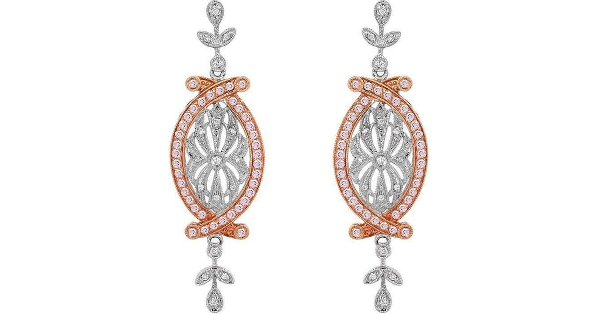 Lyst Dallas Prince Designs Vintage Pink And White Diamond Earrings In