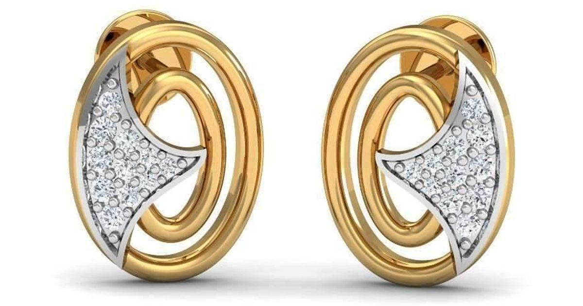 Diamoire Jewels Eye-catching Diamond Pave Earrings in 18kt Yellow Gold OEEezGQZ