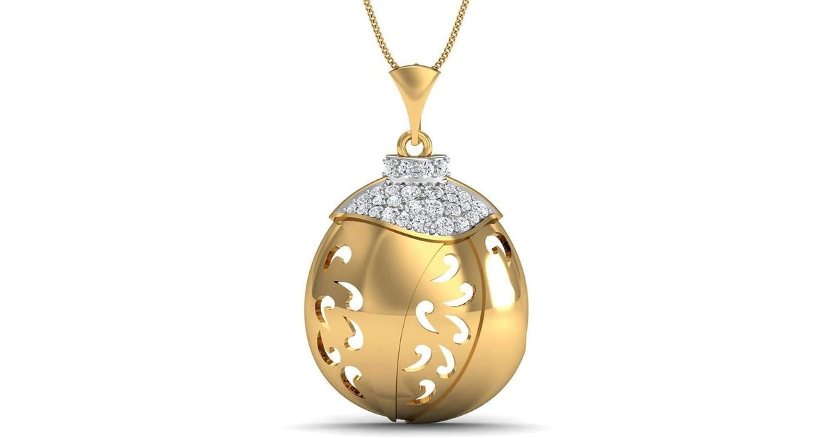 Diamoire Jewels Nature Inspired 14kt Rose Gold Pave Pendant Handset with Premium Diamonds mQLs3R9w