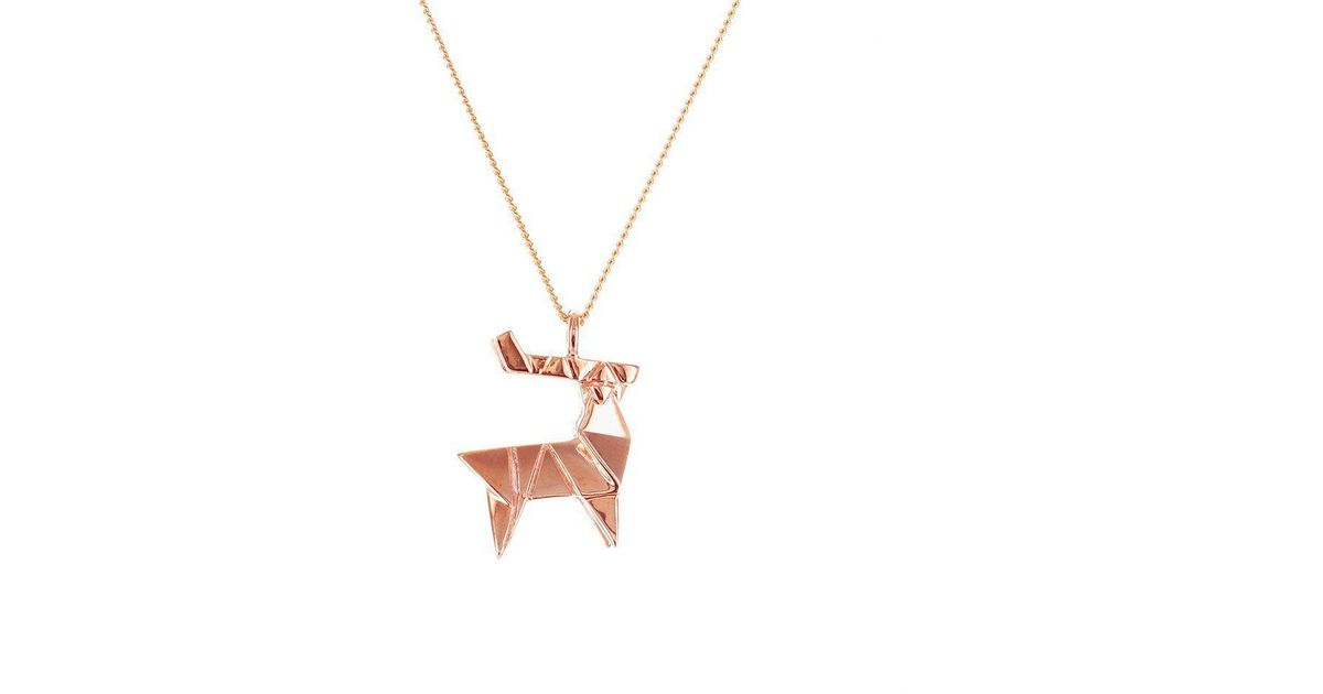Origami Jewellery Sterling Silver & Gold Mini Deer Origami Necklace Fp9i36qT2