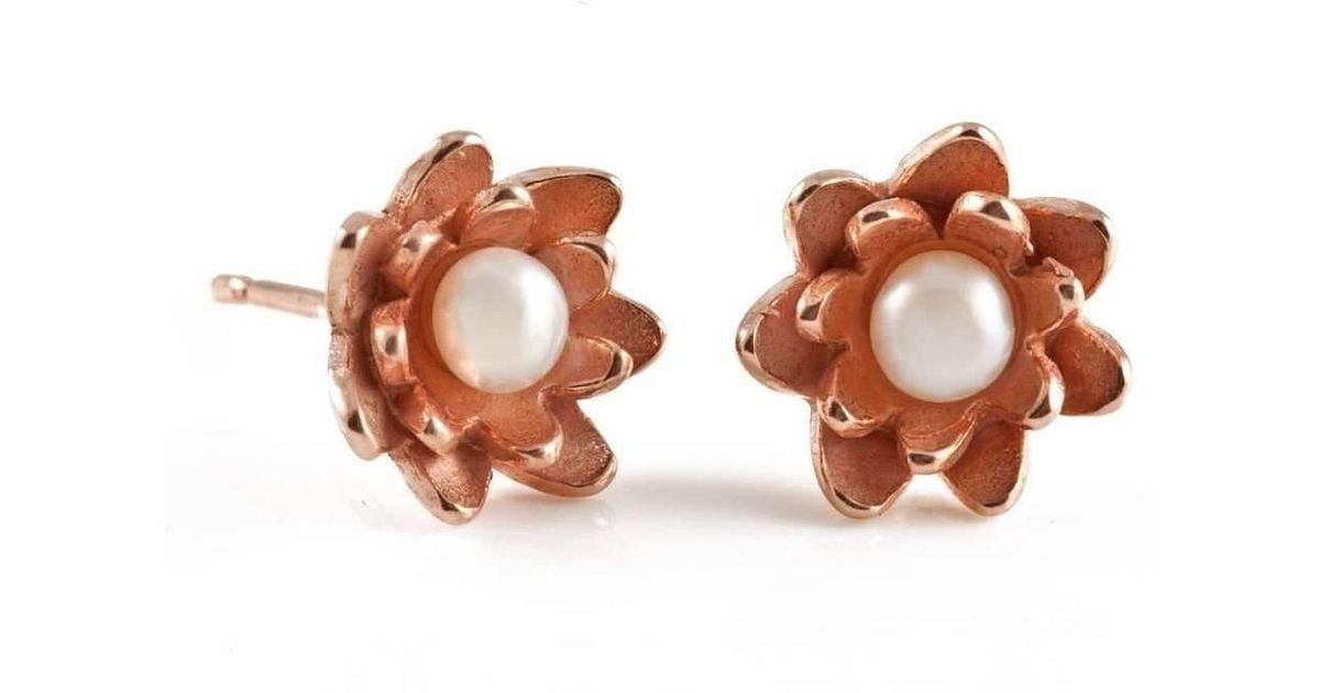 Lyst Vicky Davies Sterling Silver 18kt Rose Gold Lotus Pearl Stud Earrings