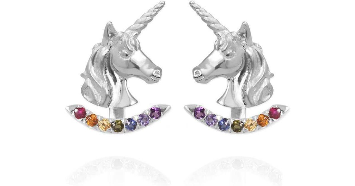 e8f2b26fc Jana Reinhardt Jewellery Sterling Silver Unicorn Earrings With Rainbow Ear  Jackets in Metallic - Lyst