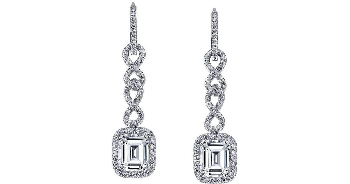 Lyst Harry Kotlar Chantilly Emerald Cut Diamond Drop Earrings In Metallic