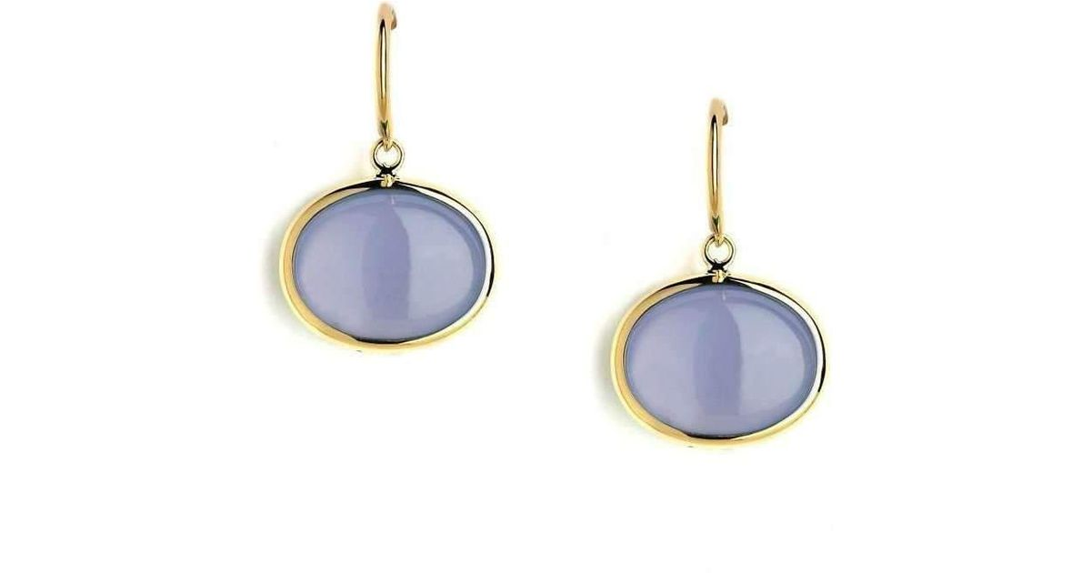 Syna 18kt Blue Chalcedony Earrings With Diamonds ASSWU
