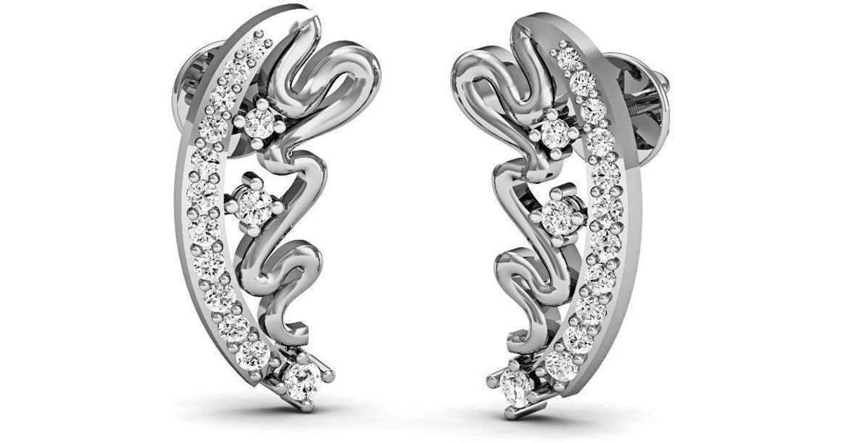 Diamoire Jewels Fancy Handcarved Diamond Stud Earrings in 18kt White Gold FvtpNQgd4y