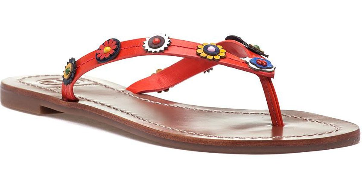 9afdc33f7 Lyst - Tory Burch Marguerite Terra Thong Samba Orange Leather Sandal