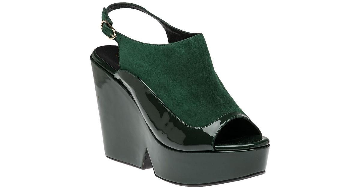 268e32fcf50c Lyst - Robert Clergerie Dana Green Suede patent Leather Wedge in Green