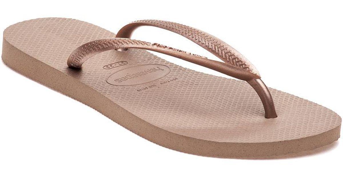 954753b77 Lyst - Havaianas Slim Flip Flop Bronze