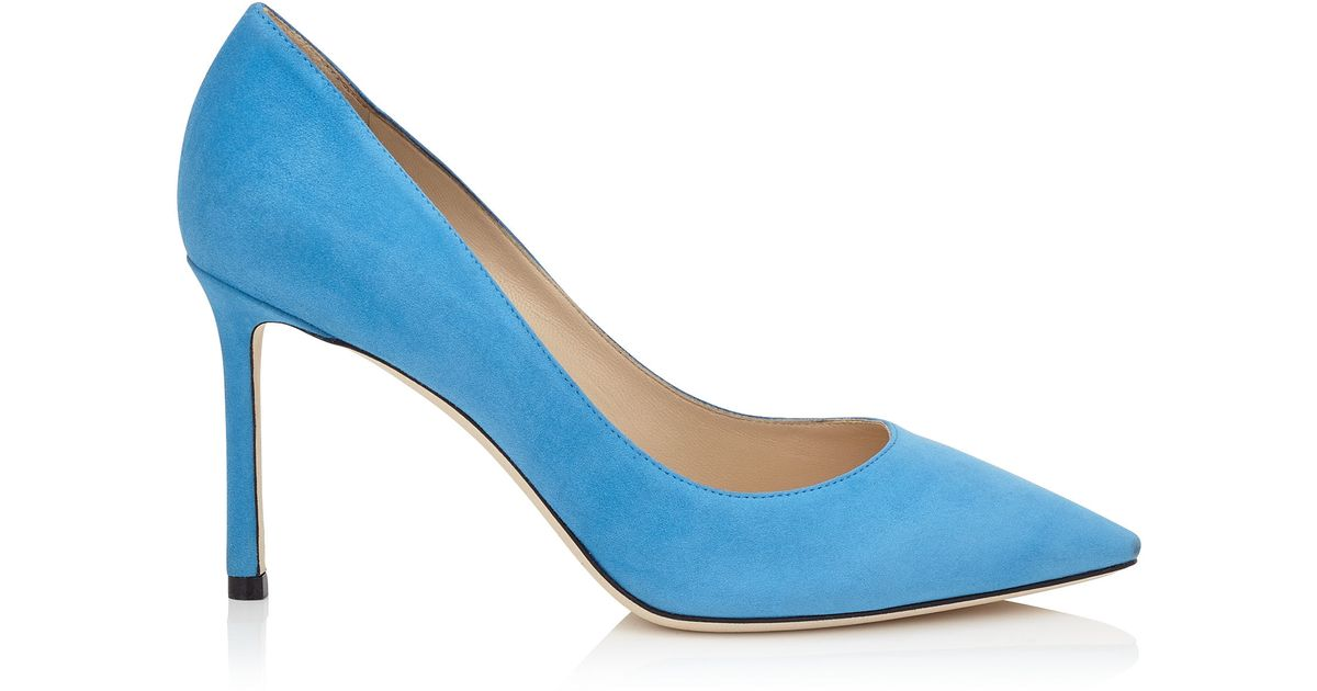 c8c3749364e9 Lyst - Jimmy Choo Romy 85 Robot Blue Suede Pointy Toe Pumps in Blue