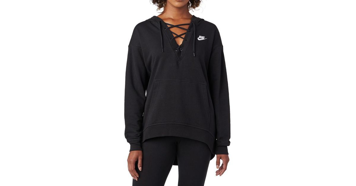 d3c58bad105c Lyst - Nike Ft Lace Up Hoodie in Black