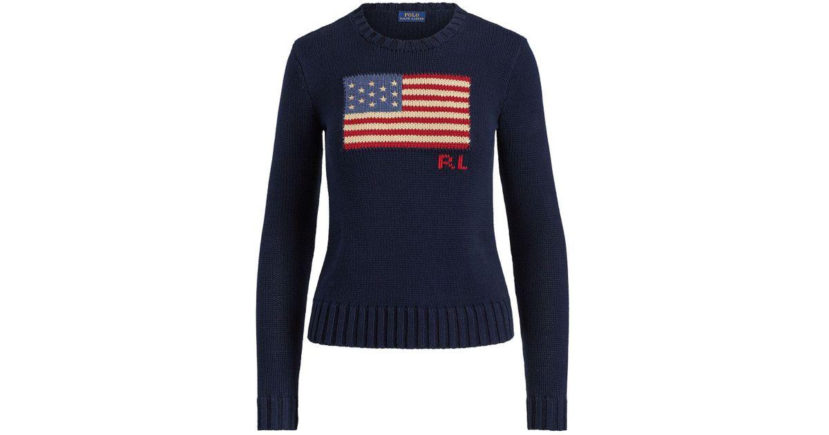 8edc8f375e1a Ralph Lauren Polo Flag Cotton Jumper in Blue - Lyst