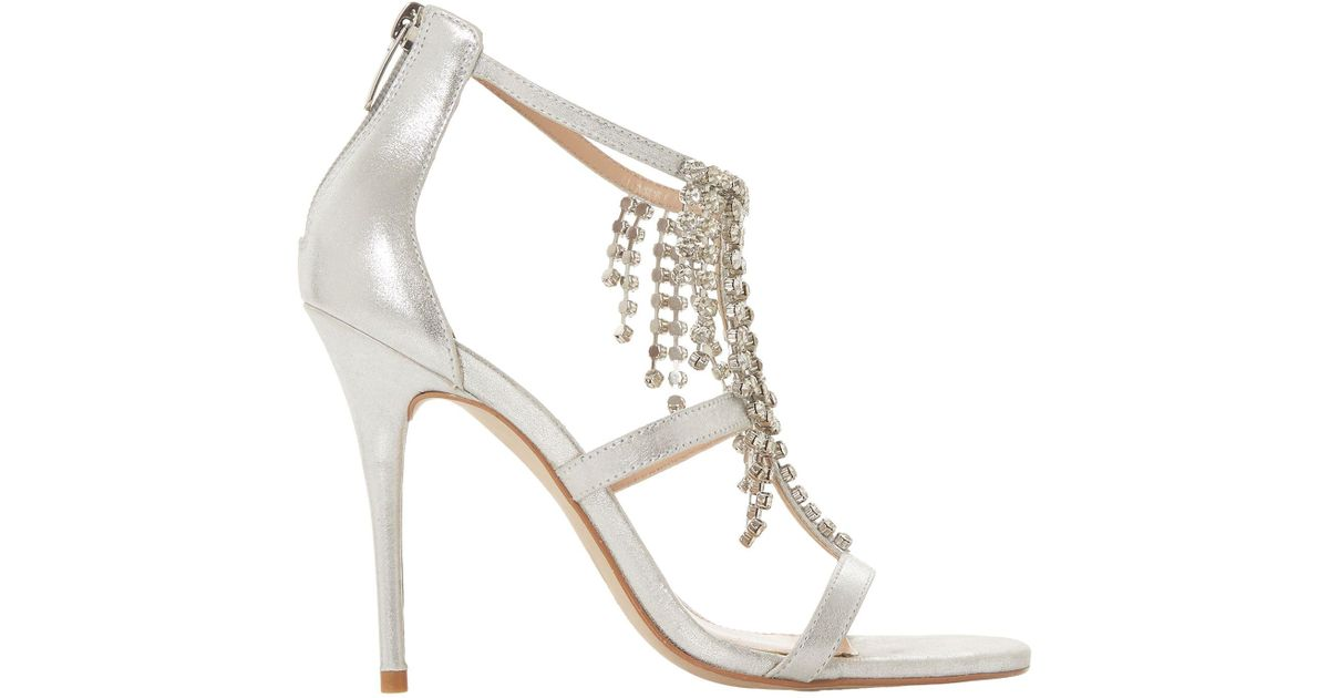 MANSIONN Strappy Jewelled High Heel Sandal gold | Dune London