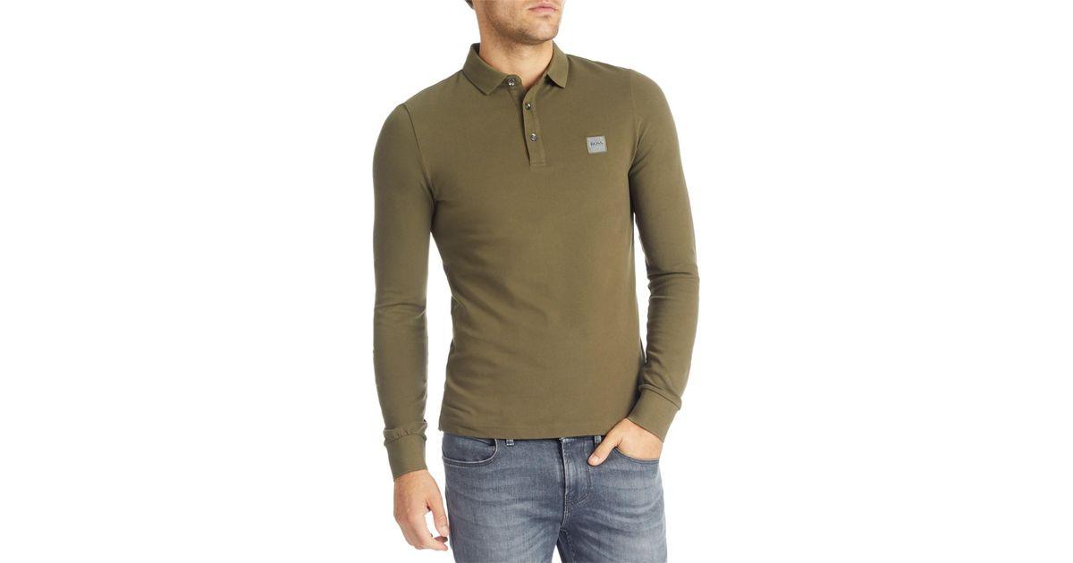 e5576e817 Boss Boss Orange Paulyn Long Sleeve Polo Top in Green for Men - Lyst