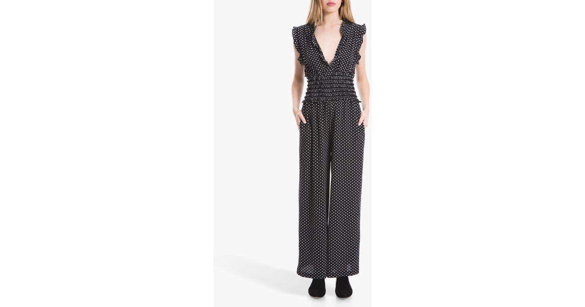 93e3f1c42d9d Max Studio Spot Print Jumpsuit in Black - Lyst