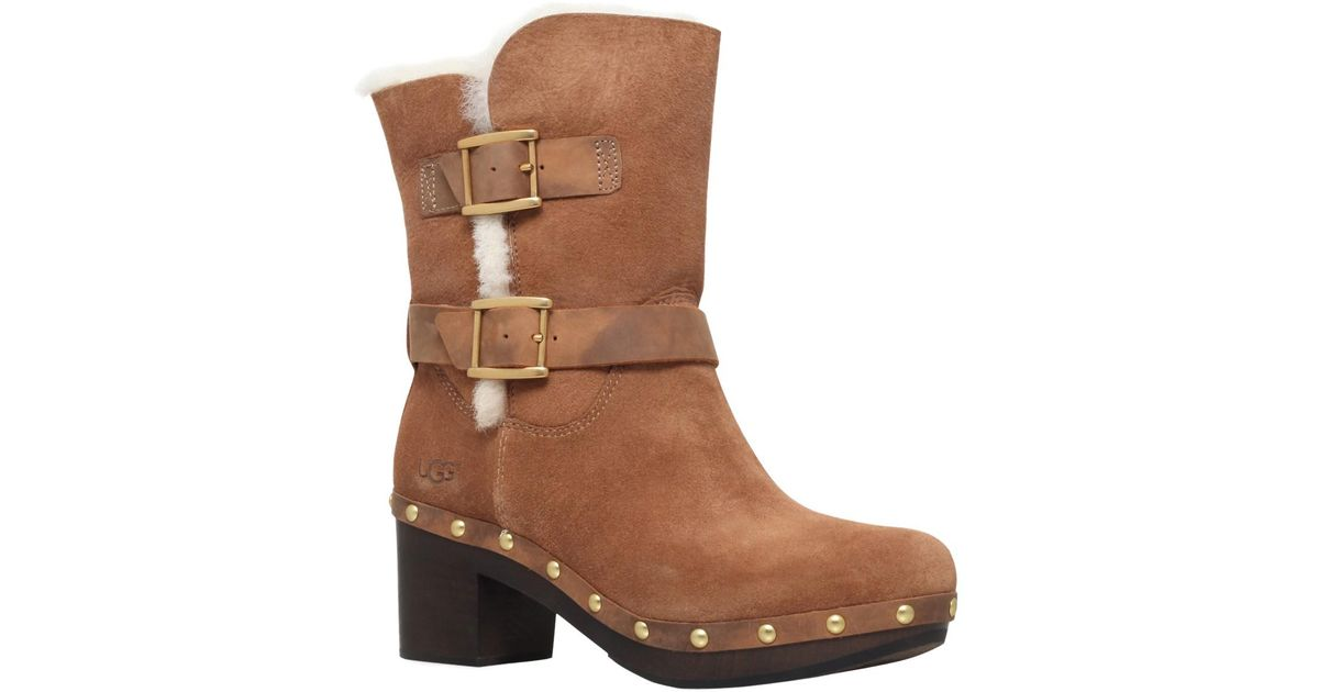 12c41289a54 UGG - Brown Brea Block Heeled Ankle Boots - Lyst